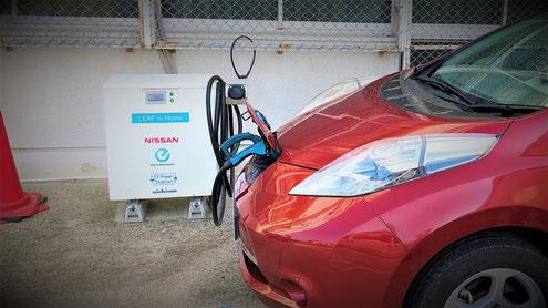八尾市消防本部にて充電されていた電気自動車