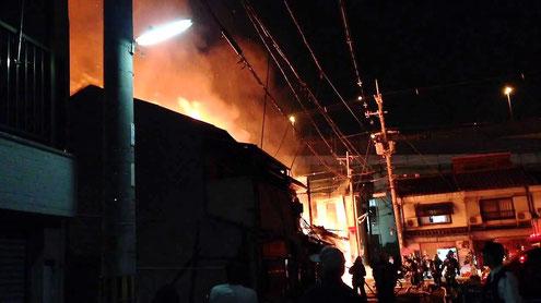 西成区で起こった火災