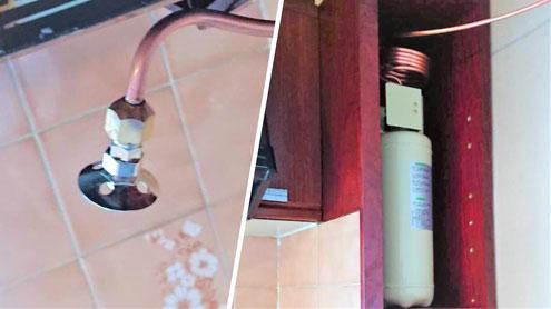 左:感熱ヘッド(62℃) 右:本体容器(強化液)