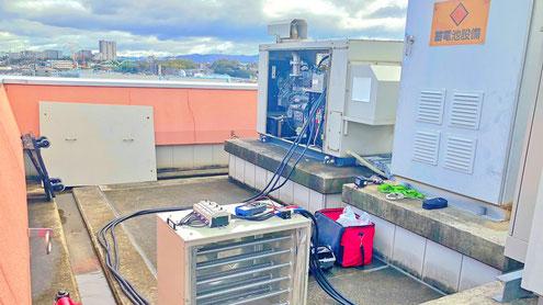 乾式抵抗器を接続した自家発電設備。