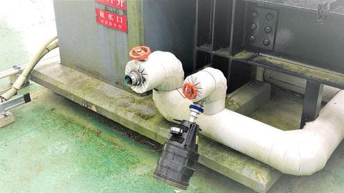 同じ配管に屋内消火栓と連結送水管のテスト弁