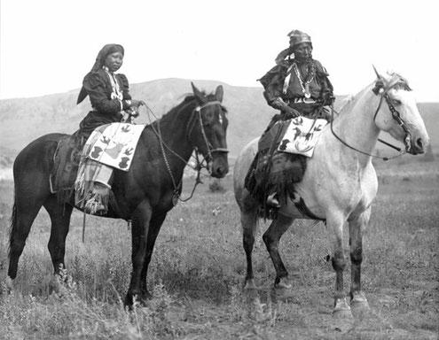Nez Perce Nimiipu with horses, Washington