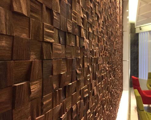 Деревянные 3D панели в интерьере