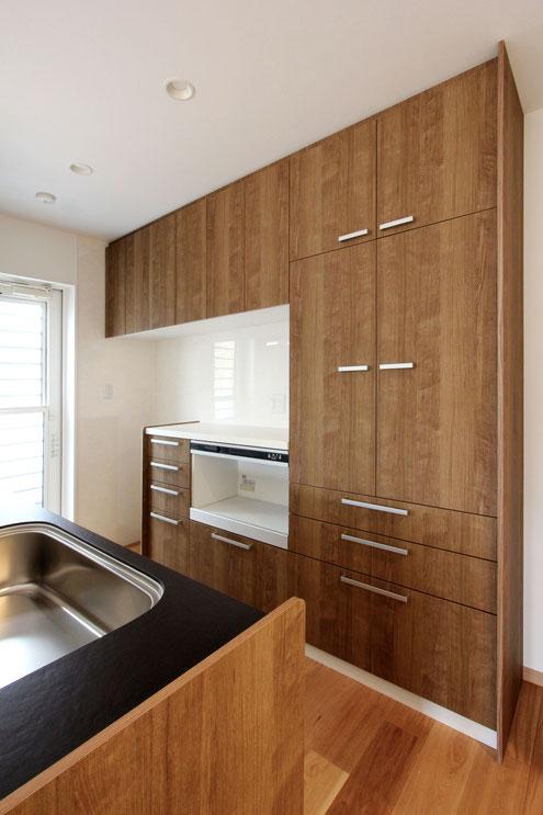 住宅 設計 キッチン 背面キャビネット