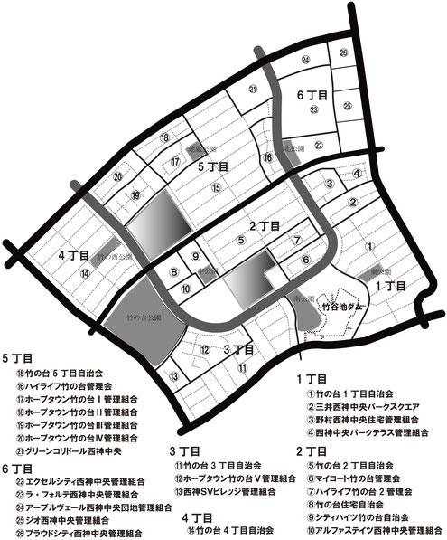 竹の台地区の区域を現した地図。1丁目~6丁目まであり、1丁目には東公園、南公園、竹谷池、2丁目には竹の中公園、3丁目には竹の台公園、4丁目には竹の西公園、5丁目には地蔵公園、6丁目には北公園がある。