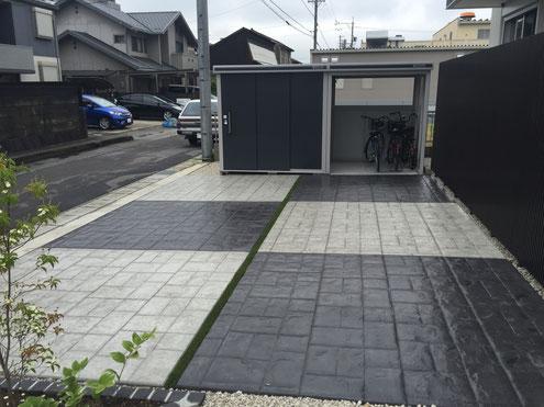 コニファー 評判 デザインコンクリート スタンプコンクリート ステンシルコンクリート 庭 外構 画像