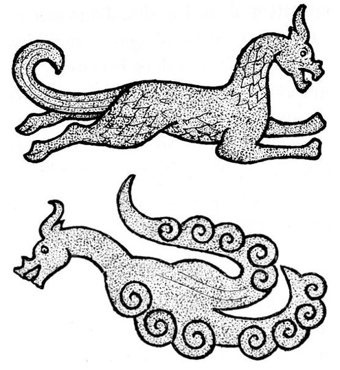 Figures 130 et 131. Gisbert Combaz (1869-1941) : Masques et dragons en Asie. La Chine. — Mélanges chinois et bouddhiques, Institut belge des Hautes Études Chinoises,  vol. VII. Bruges, 1945.