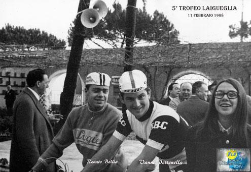Foto courtesy: Renato Bellia, Trofeo Laigueglia 1968 alla partenza il campione olimpico Tokyo '64 Giovanni Pettenella e il sottoscritto in visita di cortesia.