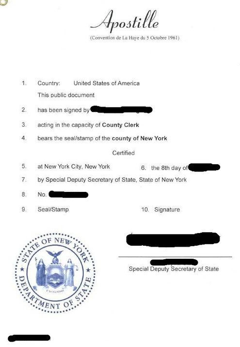 Apostille aus New York
