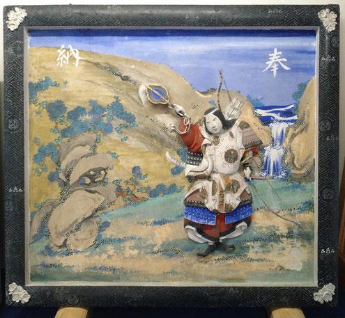 竹内源造作の鏝絵の絵馬額 神功皇后