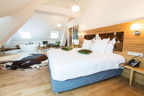 Hôtel Marotte 5 étoiles, hôtel de charme, hôtel de luxe, boutique hôtel Amiens, cosy et chic, proche de la gare et de la cathédrale, le chalet , grand lit double, beaux volumes, montagne, grotte