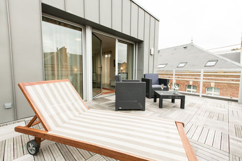 Hôtel Marotte 5 étoiles, hôtel de charme, hôtel de luxe, boutique hôtel Amiens, cosy et chic, proche de la gare et de la cathédrale, l'appartement, grand lit double, sauna, terrasse privé, long séjour, appartement meublé