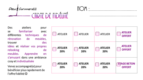 carte fidelité ateliers déco & corinnerie(s)