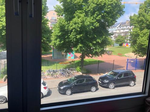 部屋の窓から見た、目の前の公園の様子