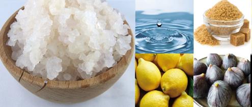 grains de kéfir, eau, citron, figue, sucre, les ingrédients du véritable kéfir de fruits