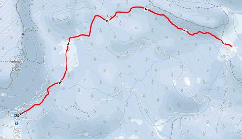 Route vom Berggasthof Predigtstuhl über den Zwerchwandsturz, das Kleine Matterhorn zur Hütteneckalm