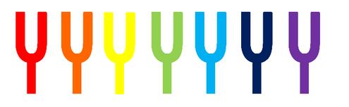 音叉ヒーリングに用いる音叉7本を7つのチャクラの色をつけました