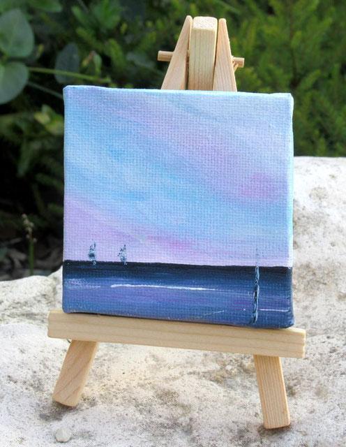 petite peinture ocean, tableau pastel ocean et voilier sur chevalet