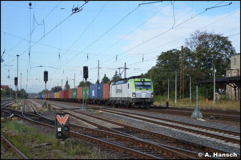 Captrain beschäftigt einige Loks der BR 193. 193 895-0 durchfährt am 2. September 2020 mit Containerzug den ehem. Hp Leipzig-Wiederitzsch