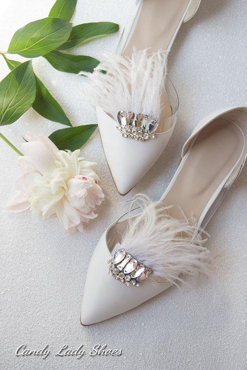 свадебные балетки с перьями камнями bride bridal shoes balerina