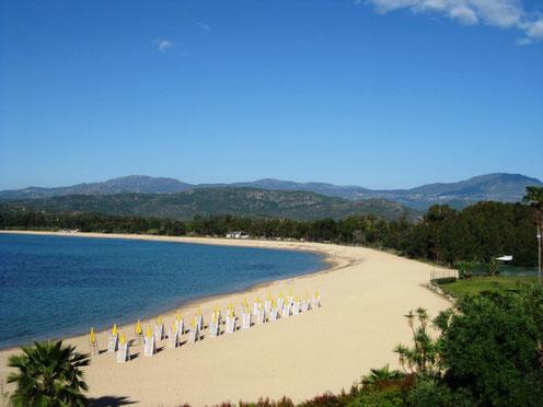 Selbst der Strand sieht wie herausgeputzt aus. Alle Liegen und Sonnenschirme in Reih und Glied