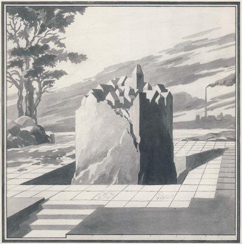 Memorial aus Granit für eine Aussichtsplatform im ehemaligen Tagebaugebiet (der Entwurf entstand vor der Stillegung von Brikettfabriken bei Borna)- r Tagebau. Entwurf um 1988.