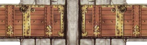 Porte décorée en bois et métal
