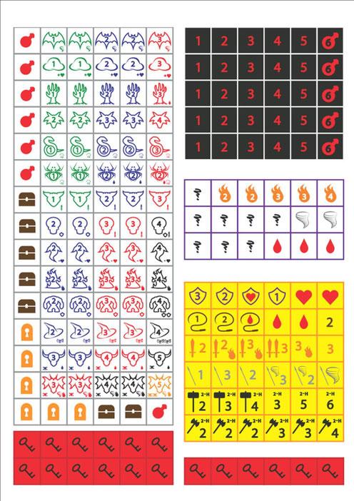 Diverses faces de dés : serrures, trésors, armes, monstres, sorts pour diversifier le jeu.