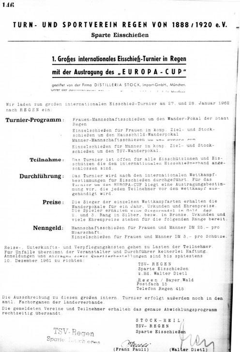 Ausschreibung des 1. EC 1962