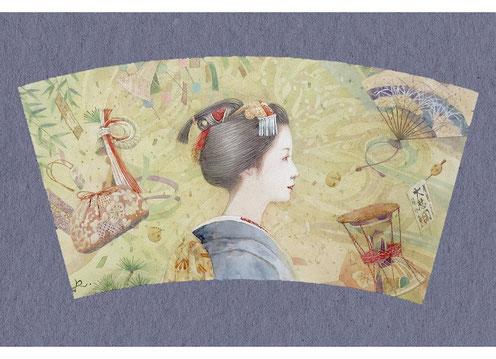 和風イラスト「さっこう」舞妓、水彩画・福井良佑