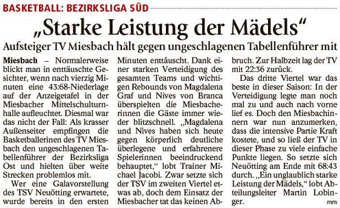Bericht im Miesbacher Merkur am 06.02.2018 - Zum Vergrößern klicken
