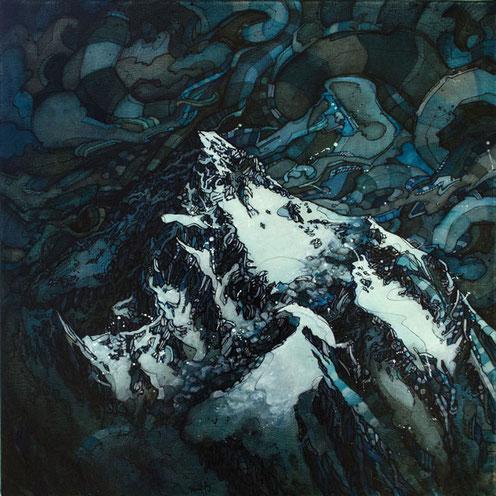 Matt.B, mattb, peinture, acrylique, encre, montagne, K2, painting, acrylic, ink, mountain