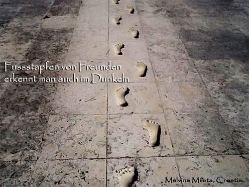 Malvina Mileta: KORACI PRIJATELJA PREPOZNAJU SE I U TAMI. Foto wurde am 21.09.2010 auf der Strasse vor dem Haus der Autorin (in Dubrova, Istrien, Kroatien) aufgenommen.