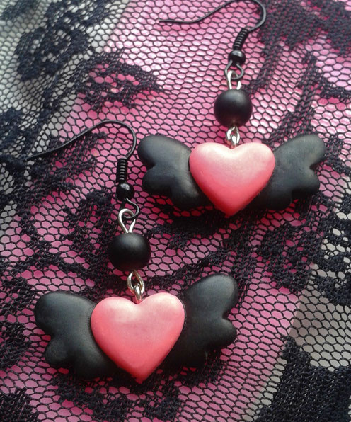 Pink & Black Flying Heart Earrings