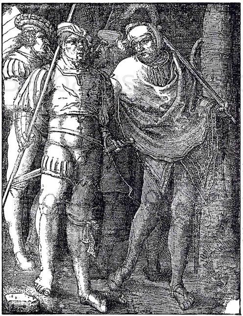 Holländische Landsknechte im 15. Jahrhundert. Kpfr. von Lucas von Leyden (1494 - 1533). B. 141.