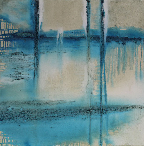 Landschaft abstrakt, 100 x 100 cm, Urgesteinsmehl, Acrylfarbe, Lack, verkauft