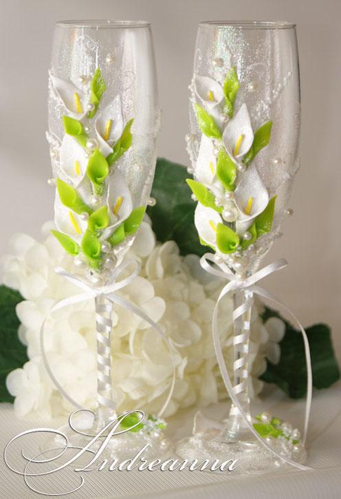"Свадебные бокалы ""Каллы"", стоимость декора 750 грн"