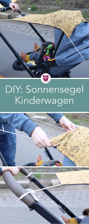 Sonnensegel für den Kinderwagen nähen: Einfach und praktische Nähanleitung mit Tunnelzug und Kordel. Nähen mit Musselin perfekt um Baby vor der Sonne zu schützen. Nähanleitung von DIY Eule.