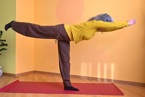 In der Waage (tulādandāsana) spannt sich die Bewegung kraftvoll aus dem manipūra-cakra in der Horizontale aus.  Der Übende kann ein Zentrum in sich und eine Gliederung nach außen wahrnehmen.