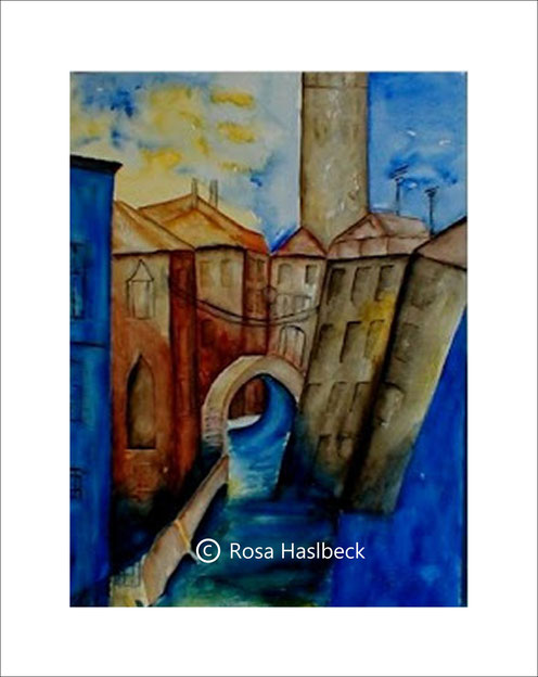 aquarell, venedig, italien, fluß, haus, blau, gelb, braun, kunst, kaufen, bild