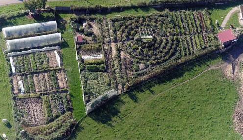 Le jardin de 5500m² cultivé en permaculture permettant l'autonomie alimentaire