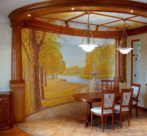 Художественная роспись обманка на тему дворянской усадьбы.  Задача-создать единое ощущение пространство интерьера и осеннего пейзажа.