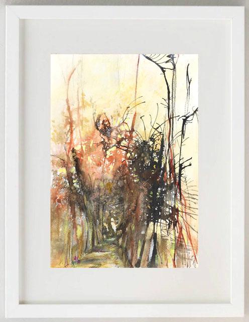 """97 / PATRIZIA MARTIN ROSSI, """"Toscana - Autunno"""", 2020, China, acquerello e pastello, 20 x 30"""