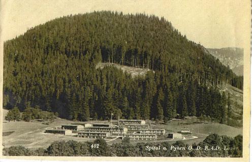 Arbeitsdienstlager am Wur in Spital am Pyhrn um 1943, in welches nach dem Krieg Flüchtlinge aus dem Osten Aufnahme fanden.