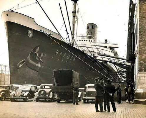 S.S. Bremen docked in New York in the 1930s
