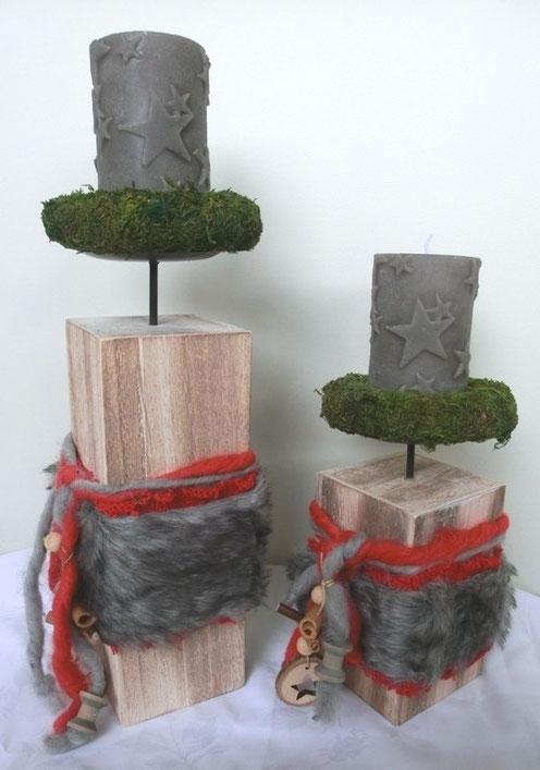 Kerzenhalter aus Holz mit Felldeko