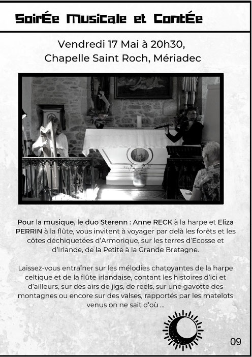 Trio Sterenn -  Accordéon, harpe, flûte et guitare - Concert de musique irlandaise et folk traditionnel -  Bar la Co'Loc à Locmariaquer, le samedi 29 décembre 2018 à 21h30