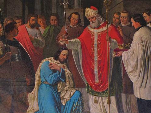 Aux alentour de 498, Clovis, le roi des Francs (peuple barbare venant de l'actuelle Belgique) se fait baptiser par l'évêque de Reims, Rémi, avec toute son armée. C'est le moyen le plus infaillible pour légitimer son autorité auprès des gallo-romains.