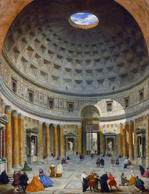 Les Romains polythéistes sont profondément religieux et tolérants. Ils attribuent le succès de leur empire à leur piété collective (pietas) qui garantit de bonnes relations avec les dieux. Le Panthéon construit par Hadrien est dédié à tous les dieux.