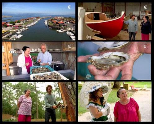 """Petite """"carte postale"""" de l'émission tournée avec la production Morgane pour la 5 """"Les 100 lieux qu'il faut voir : La Gironde, du Bassin d'Arcachon à Saint-Emilion"""" avec Marinelle en qualité de guide présentatrice"""